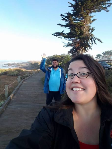 David and Jessica on Moonstone Beach boardwalk