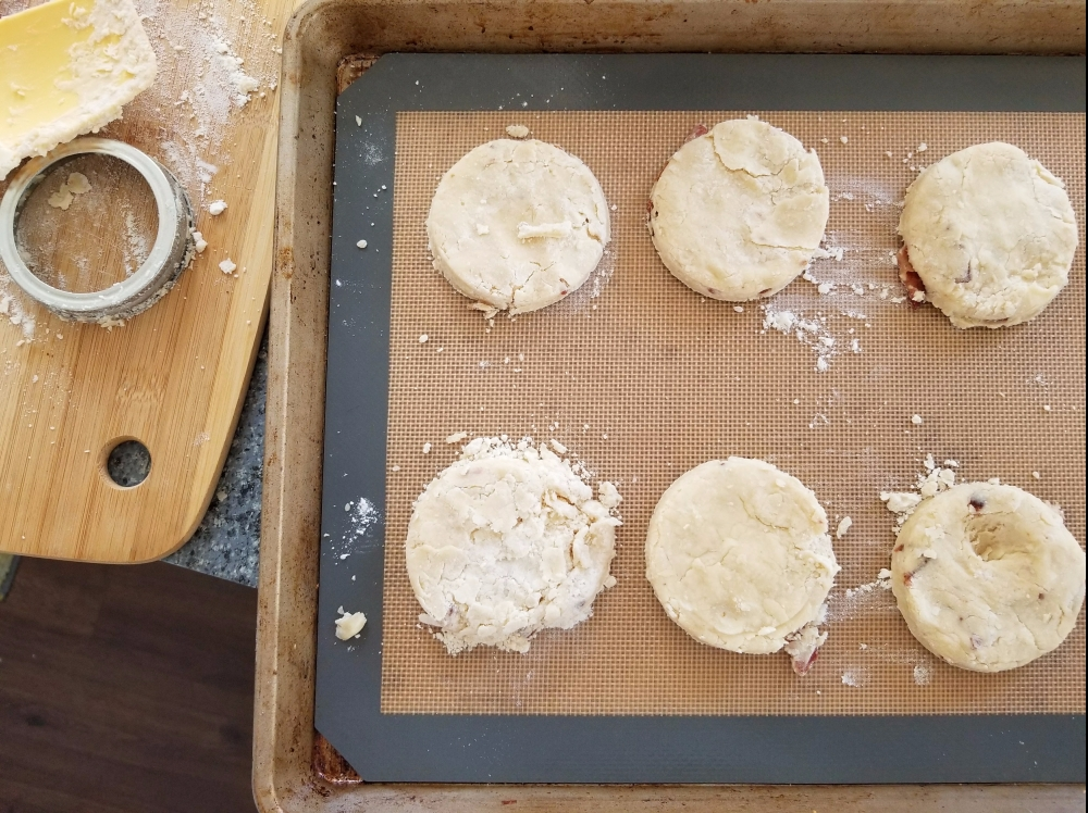 Biscuits on pan ready for the oven